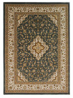 Ottoman Temple Rugs Traditional Carved Wilton Rugs In Cream / Grey 160x230cm