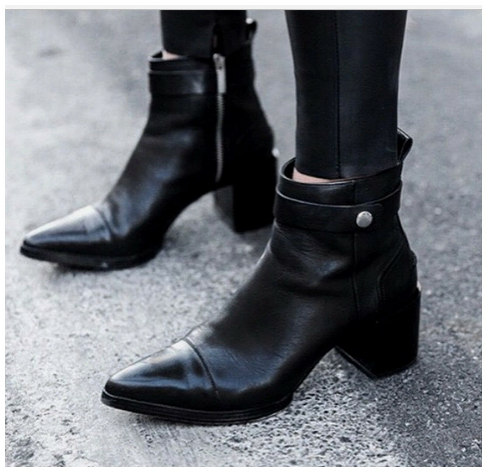 ZARA WOMAN BLACK GENUINE BOOTS LEATHER PIXIE POINTED ANKLE BOOTS GENUINE NEW SHOES COAT DRESS fdfd10