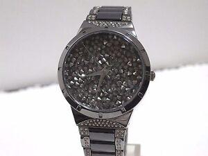 Capable Victoria Wieck Pave Cristal Céramique Montre Bracelet Noir-afficher Le Titre D'origine
