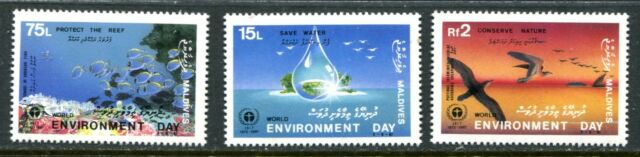 MALDIVE ISLANDS 1988 ENVIRONMENT - BIRDS - FISH MINT NEVER HINGED COMPLETE SET!