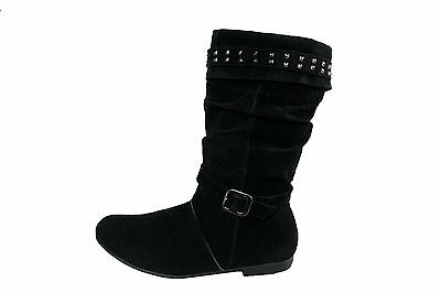 GIRLS/LADIES FAUX SUEDE CALF LENGTH BOOT WITH STUD TRIM AND ZIP IN SIZES 13-5