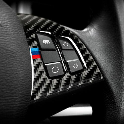 For BMW X5 E70 2008-13 Carbon Fiber Inner Car Steering Wheel Button Cover Trim