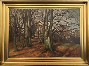 Herbstimpressionen-IN-Forest-Oil-Painting-With-Profilrahmen-Antique-1935-Signed