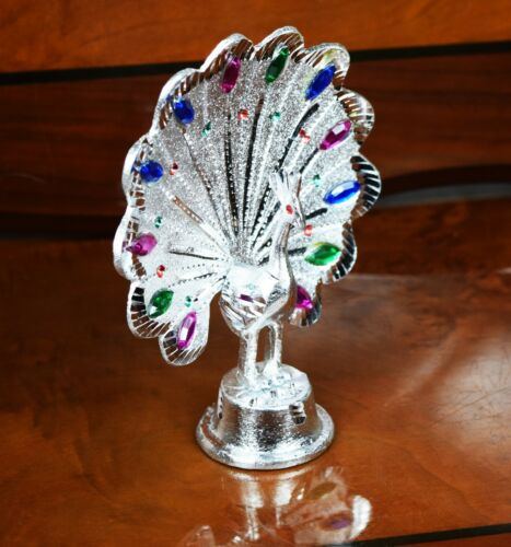 ITALIAN PEACOCK SILVER METAL ORNAMENT HOME DECOR GIFT