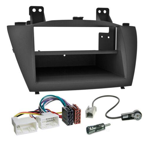 Autoradio Einbauset 1-DIN Hyundai ix35 ab 10 Kabel Einbaurahmen schwarz