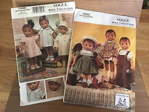 Vogue Vintage Doll Collection Clothing Patterns Vogue 7486 and Vogue 7655