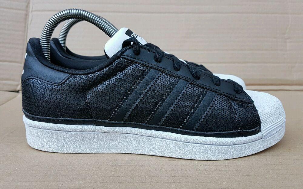 Magnifique Adidas Superstar Shell Toe formateurs en Taille UK 7 noir à paillettes Excellent-