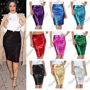 0ebf128ef7 New Women High Waist Wetlook PVC Leather Shiny Metallic Liquid ...