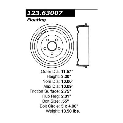 Centric Brake Drum Front New for Dodge Dart Plymouth Barracuda 123.63007