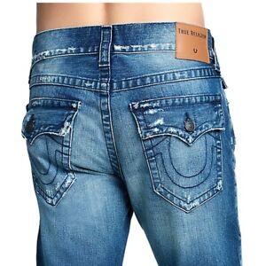 aeb071c4d True Religion Men s Geno Slim Distressed Straight Jeans w  Flap in ...