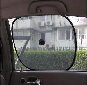 2 x FOLDABLE CAR WINDOW SUNSHADE MESH SCREEN VISOR UV PROTECTIVE SUN COOLER BABY