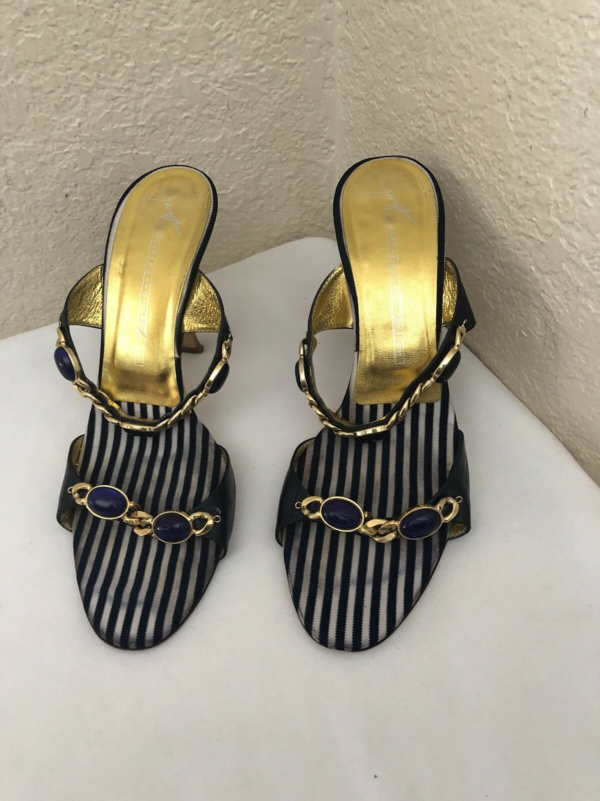 Giuseppe Zanotti Navy Leather lila Rhinestones Open Toe Heel 37 Sandal Sz 37 Heel 7e78b4