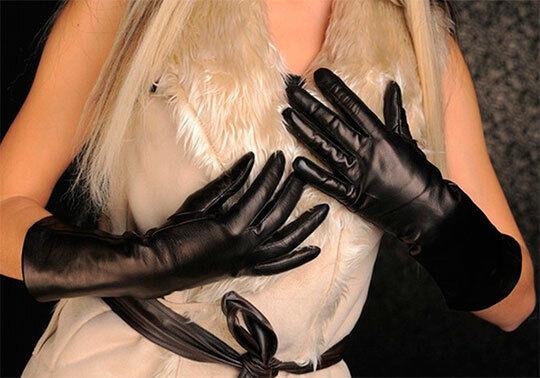! totalmente nuevo! elegante Guantes De Cuero Negro Largo Con Forro De Lana! nuevo!