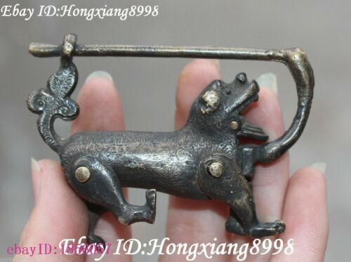 Old Chinese Dynasty Ancient Beonze Dog Lion Dragon Beast lock lockstitch Statue