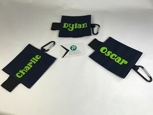 Personalised Water Bottle holder, clips on to any bag. Hands free carrying