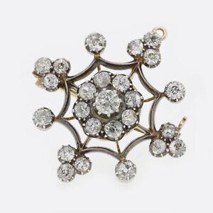 Victorian-3-40-Carat-Diamond-Cluster-Brooch-Pendant-15ct-Gold-Silver-Set