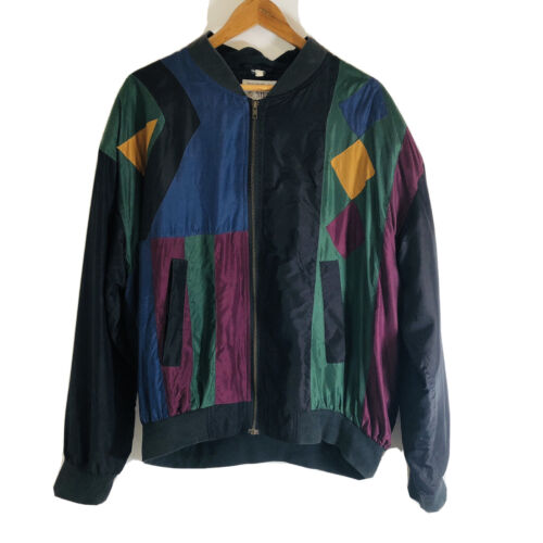 Silk Trail Bomber Jacket Vintage Silk Full Zip Un… - image 1