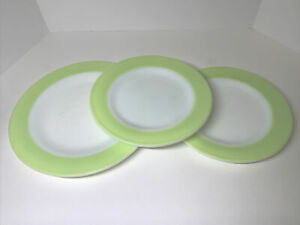"3 Vintage, Rare, Pyrex ""Lime Green & White"" One 10"" Dinner & 2- 8"" salad plates"