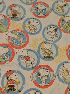 Peanuts-Snoopy-Twin-Flat-Sheet-Blanket-Olympic-Sports-Material-Fabric-1960s-VTG