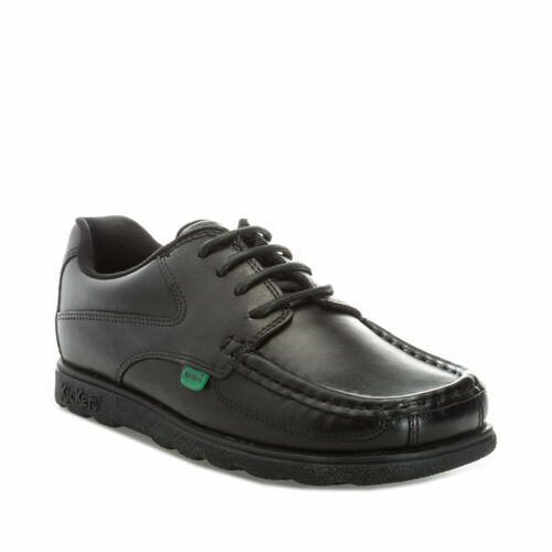 Children Boys Kickers Fragma Lace Shoe In Black-Lace-Up Kickers Tab Logo To
