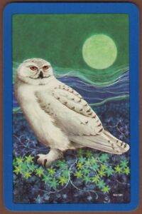 Playing-Cards-1-Single-Card-Old-Vintage-SNOWY-OWL-Bird-in-Moonlight-Art-Picture
