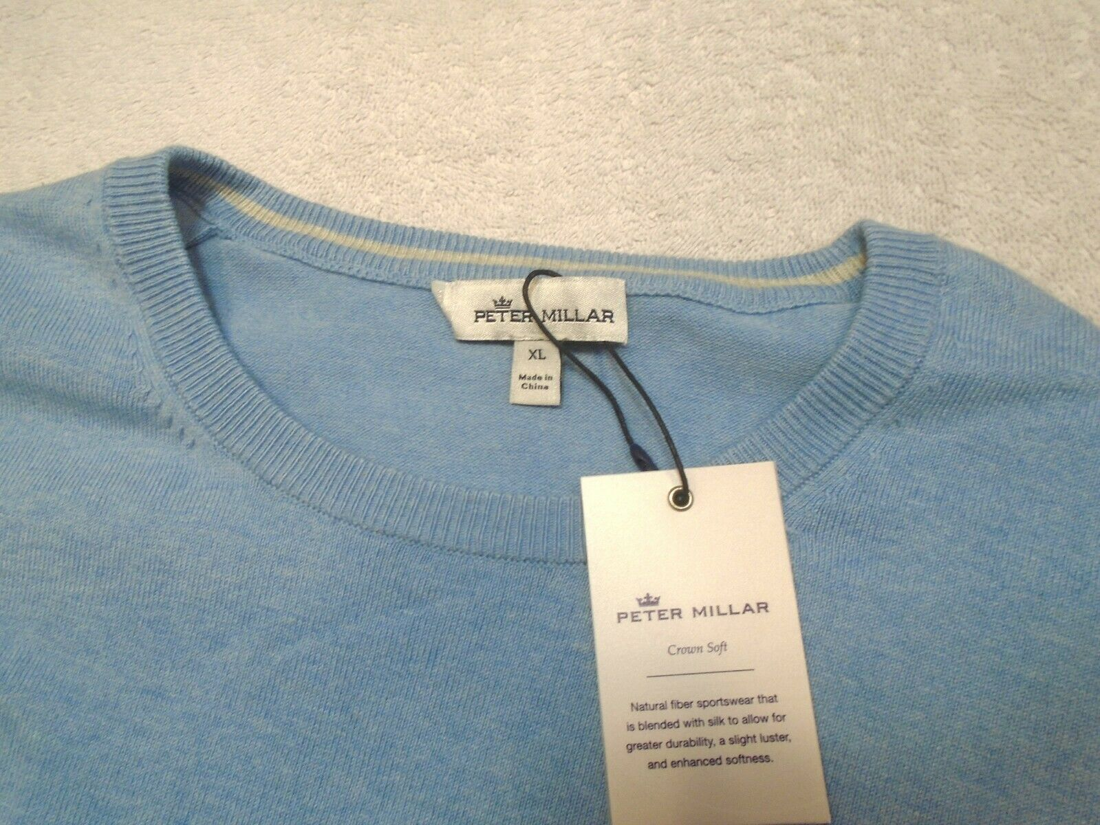 Peter Millar Crown Soft Cotton & Silk Crewneck Sweater NWT XL  145 Light Blau