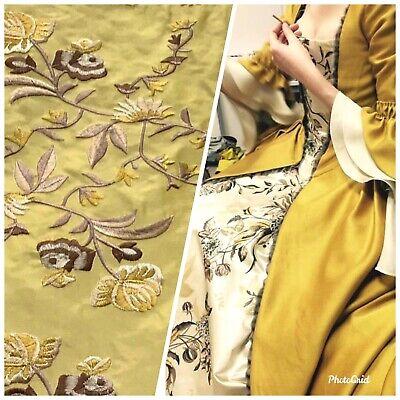 SALE Designer 100/% Silk Taffeta Drapery Fabric Antique Yellow Gold Floral
