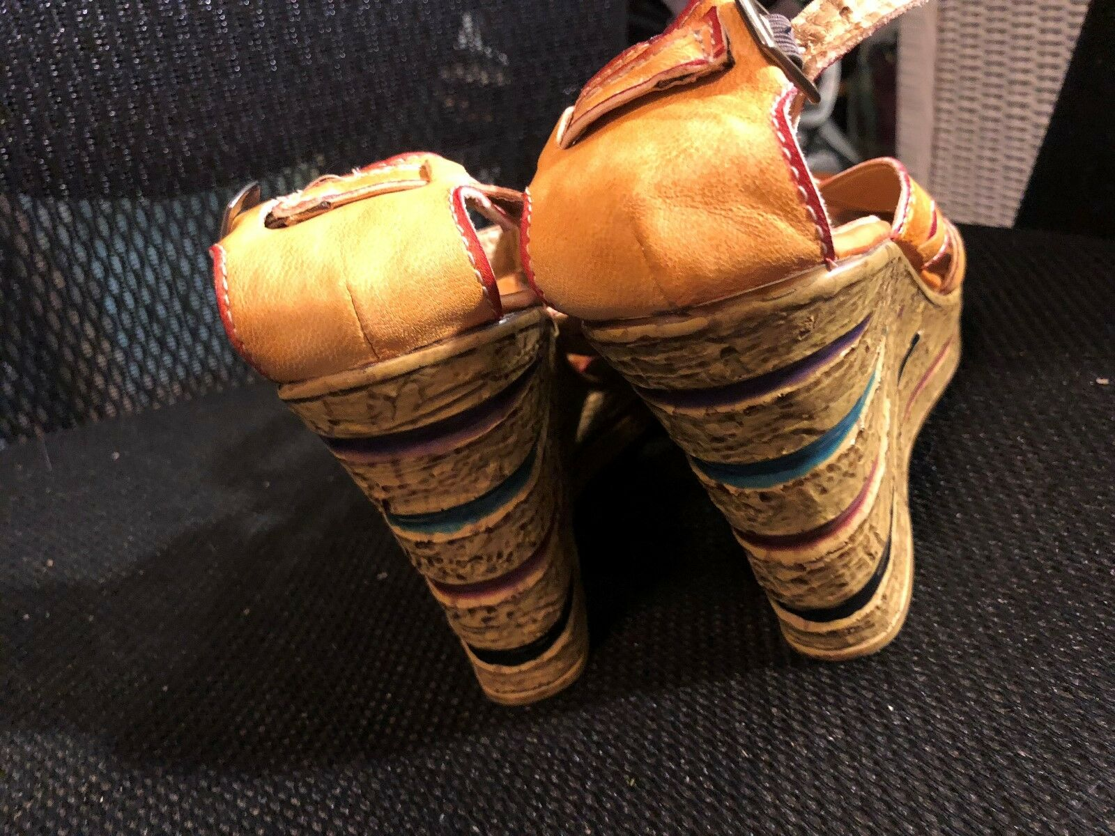 Sandals, ELITE by CORKUS, CORKUS, CORKUS, mustard, hints of lime green, red, 4  wedge,7 1 2M 7a88c9