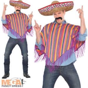 Caricamento dell immagine in corso Poncho-messicano-SOMBRERO-Cappello-Da- Uomo-Costume-Western- 3d0de589f73c