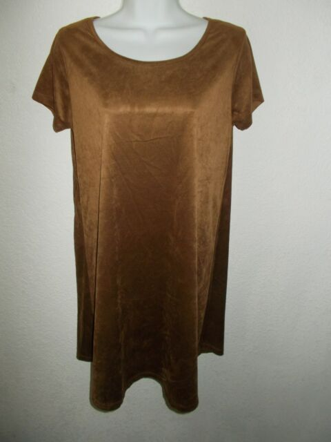 Brown Suede Dress New with tag (L) Women's  (Faux)   SHIPS FREE