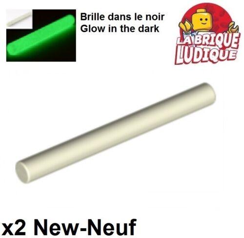 Lego 2x Bar 4L barre Lightsaber Blade phosphorescent//glow in dark 30374 NEUF