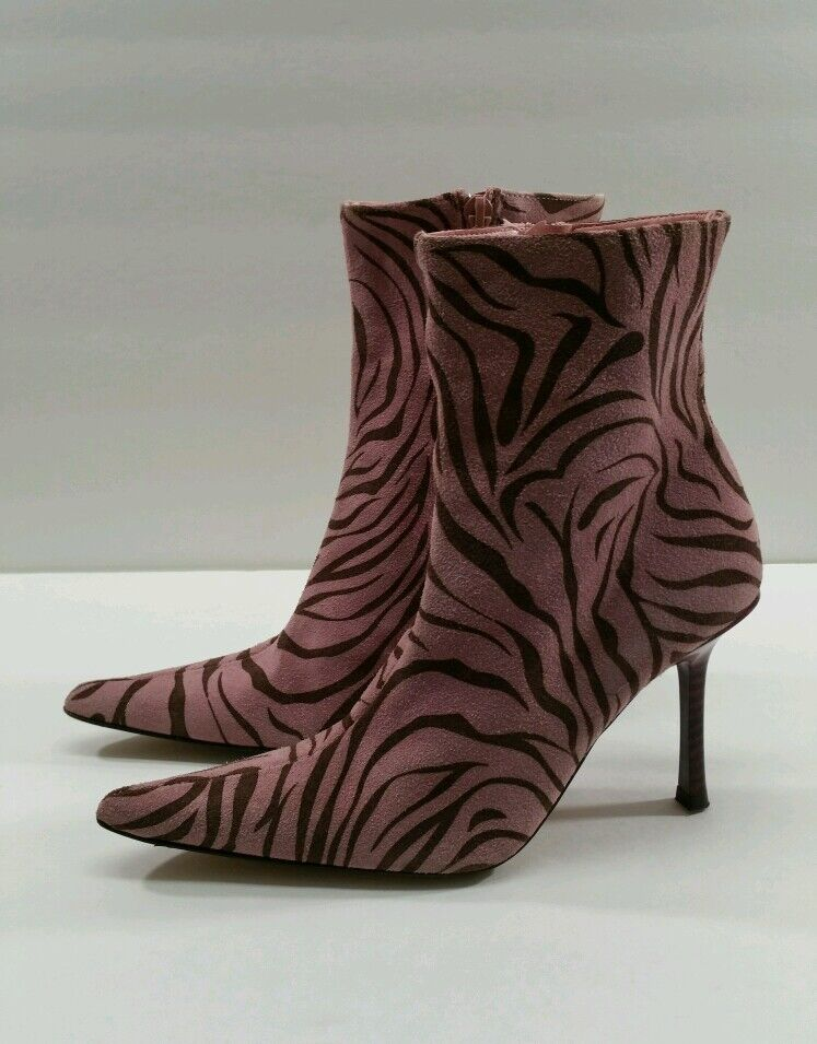 bebe Pink/Brown Pointy Toe Ankle Boots Boots Ankle - Size 6.5M 817321