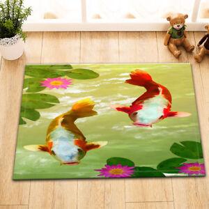 Door-Mat-Bathroom-Rug-Bedroom-Carpet-Bath-Mats-Non-Slip-Lotus-Pool-Zen-Fish