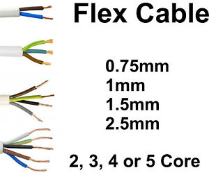 White-Round-Flexible-Flex-Cable-2-3-4-5-Core-0-75mm-1mm-1-5mm-2-5mm-Electric