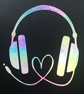 Headphones Love Music Rainbow Holographic Car Decal Sticker Window