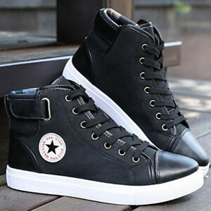 Fashion-Mens-Oxfords-Casual-High-Top-Shoes-Leather-Shoes-Canvas-Sneakers-Sz-5-11