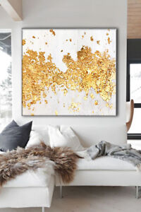 QUADRO-MODERNO-ASTRATTO-DIPINTO-A-MANO-FOGLIA-ORO-APPLICATA-SU-TELA-ABSTRACT