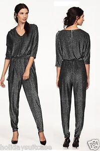 Size-16-20-Ladies-womans-shimmer-glitter-sparkle-black-party-evening-jumpsuit
