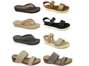 9e78ab211b0ccb Ladies Dunlop Toe Post Flip Flop Wedge Summer Beach Sandals ...
