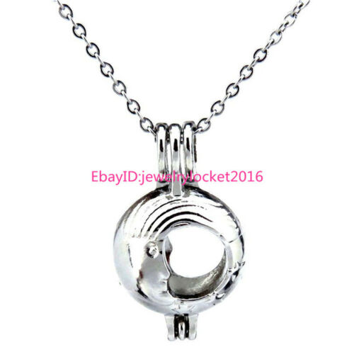"""Silver Moon Bead Pearl Cage Stainless Steel Necklace 18/"""" K299"""