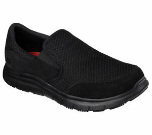 Skechers-Shoes-Men-039-s-Wide-Work-Width-BBK-Black-77048-Sport-Mesh-Slipon-Resistant