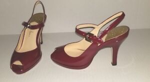 Classy-Red-Patent-Cole-Haan-Size-4B-Peep-Toe-Open-Heel-Mary-Jane-Shoes-NikeAir