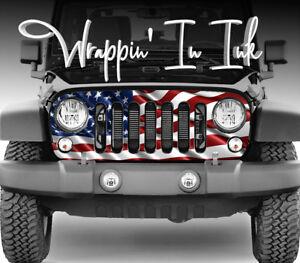 American Flag Jeep Wrangler JL Grill Wrap Vinyl  2018-19