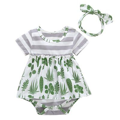 Newborn Infant Baby Girl Cactus Romper Jumpsuit Bodysuit Headband Outfit Clothes