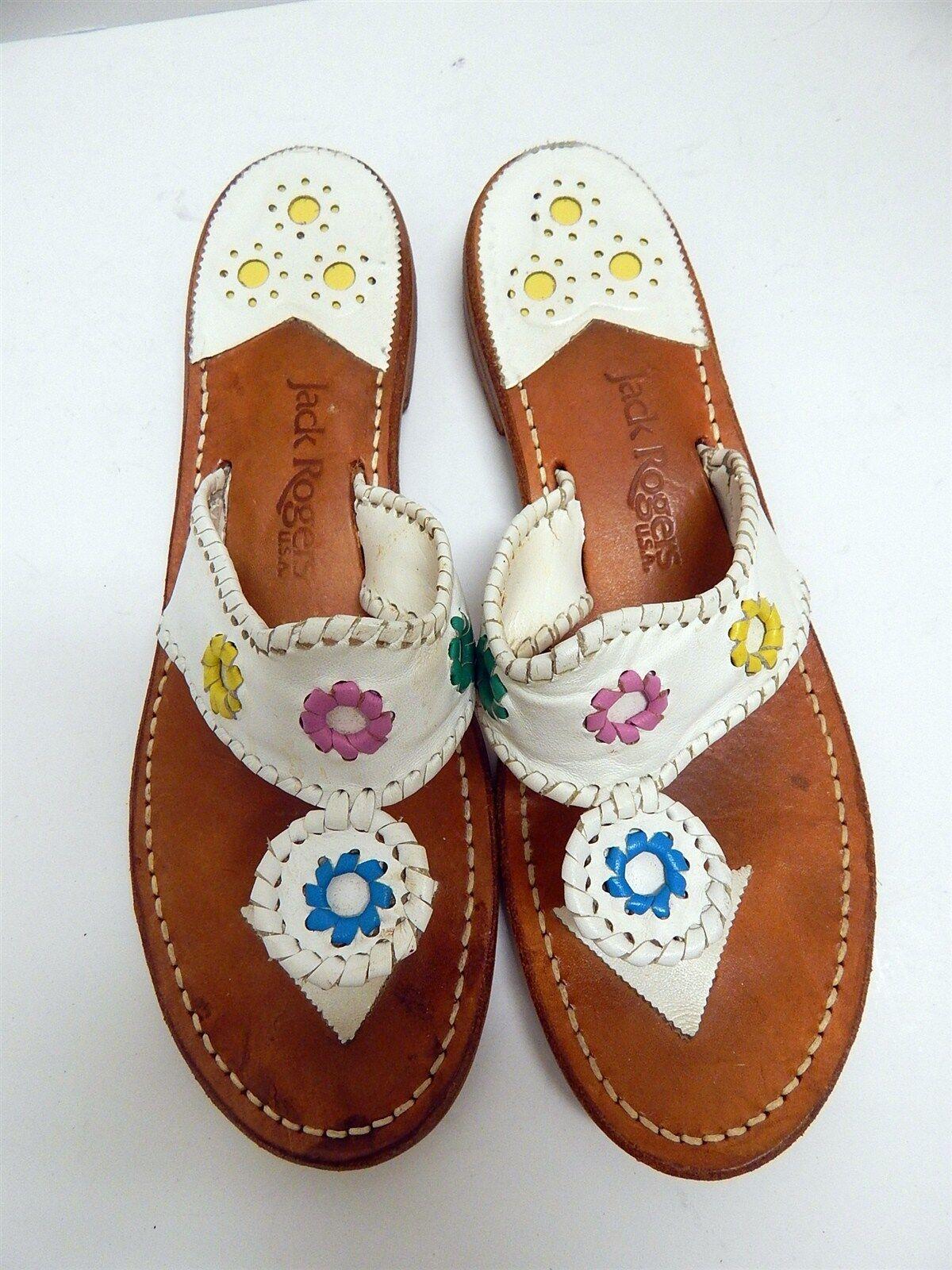 Jack Rogers Navajo 11 M WEISS Multi Leder Flip Flop Sandales