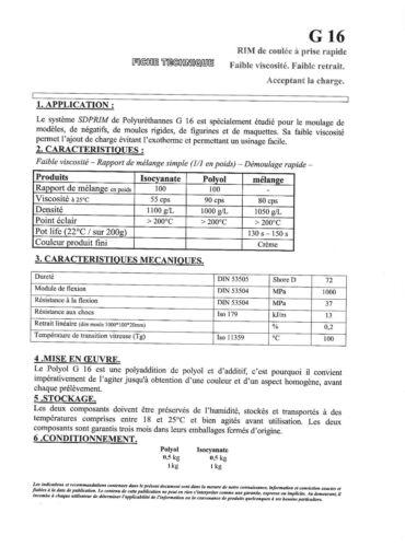 1 kg RÉSINE POLYURÉTHANE G16 DE COULÉE RAPIDE 1kg
