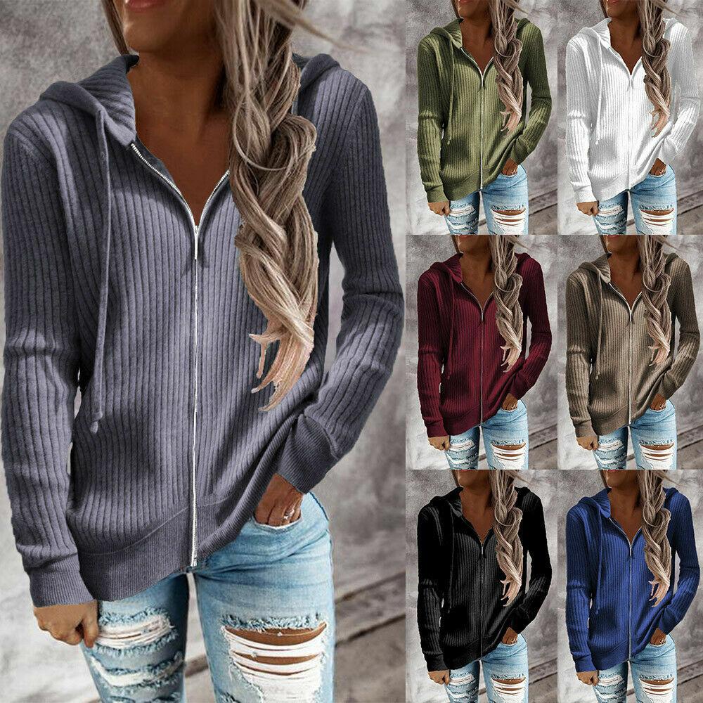 Womens Long Sleeve Knit Hoodies Zip Up Sweatshirt Ladies Hooded Jacket Tops UK