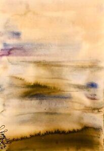 ORIGINAL-Margarita-Bonke-Malerei-Zeichnung-aquarell-landscape-Landschaft-art-A3
