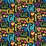 I Love My Cat Words 100% Cotton Patchwork Fabric (Timeless Treasures)