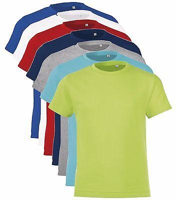 Plain Kids Childrens Childs Boys Girls Slim Fit Tee T-Shirt Tshirt 2-12 Years